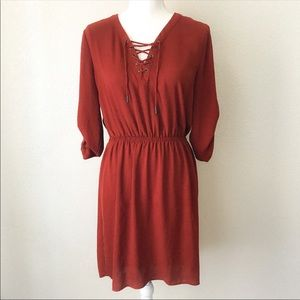 Mossimo Women's Rust Orange Hi-Low Dress Sz M
